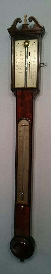 Fine quality Georgian mahogany stick barometer by Sampson.