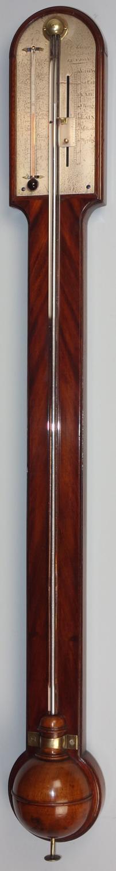 George III mahogany stick barometer by Adams, London.