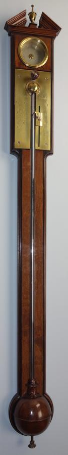 Superb Georgian mahogany and walnut stick barometer. Burton, London.
