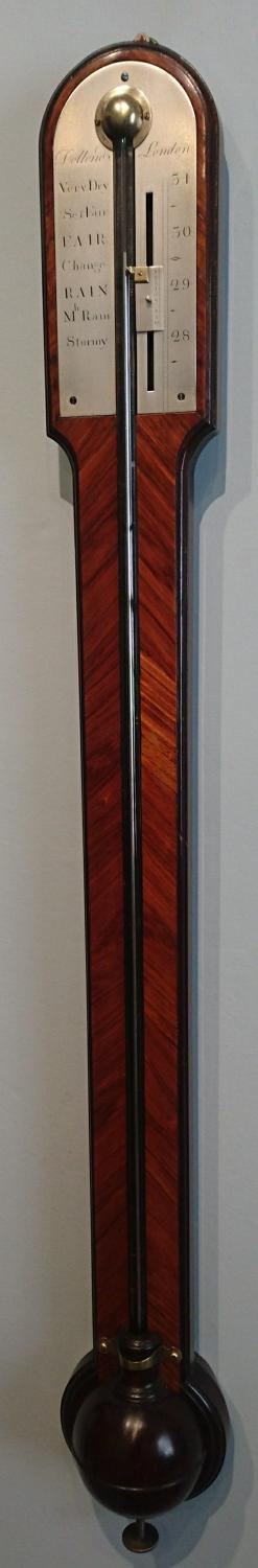 Mahogany and kingwood George III stick barometer. Dollond, London.