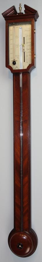 A fine Georgian mahogany stick barometer by Manticha, London.