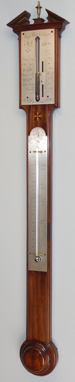 Rare design 18th.c mahogany stick barometer by Ronchetti, Manchester.