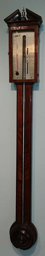 Georgian mahogany stick barometer, Bulgarone,c.1810.