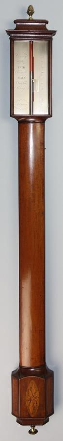Early Georgian mahogany bowfronted stick barometer by Stott, Dumfries