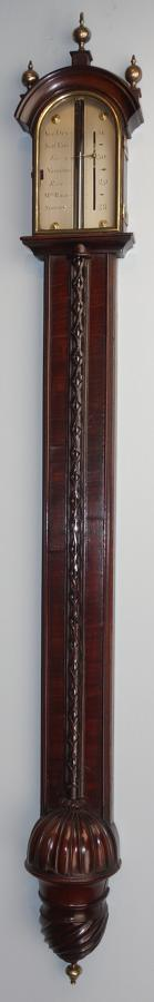 Rare George II stained walnut stick barometer of exceptional quality.