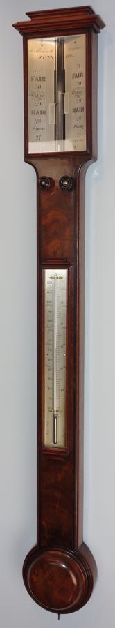 Fine Regency  mahogany stick barometer by Abraham, Liverpool. c.1835.