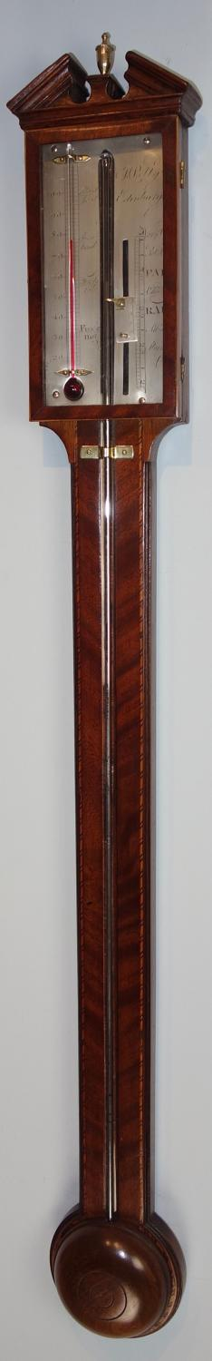 Good mahogany stick barometer by Polty, Edinburgh.