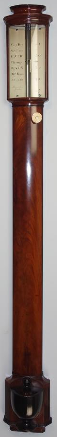 George III bow fronted stick barometer by Ramsden, London.