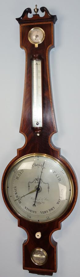 Regency Mahogany Wheel Barometer, Whitehurst & Son, Derby. C.1830.
