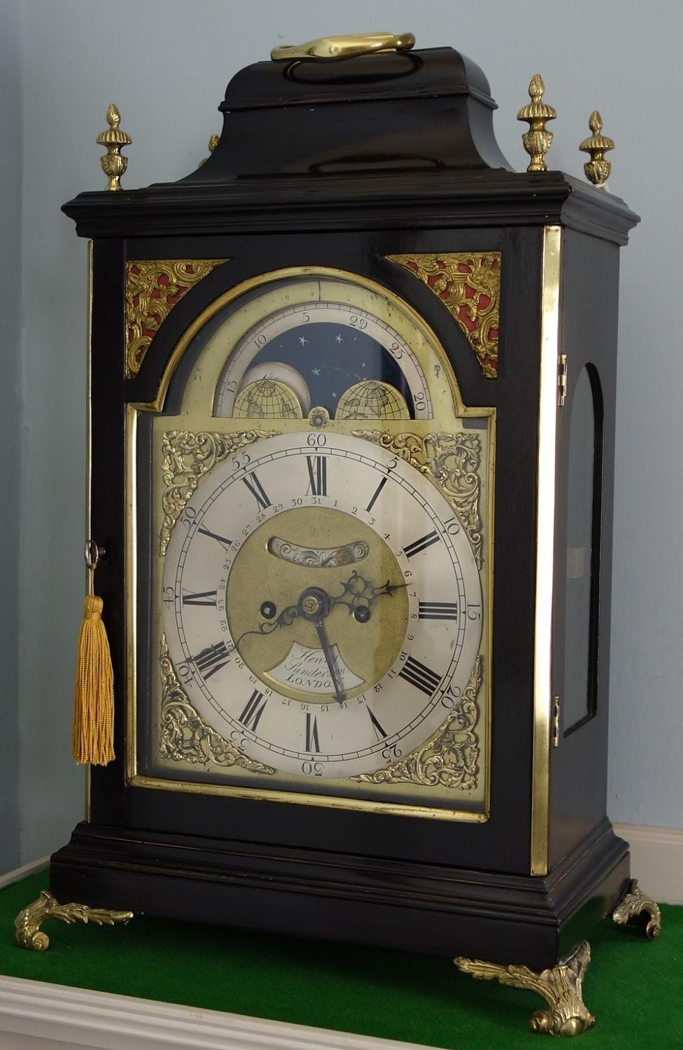 Ebonised Georgian Bracket Clock With Rare Moonphase, Sanderson, London