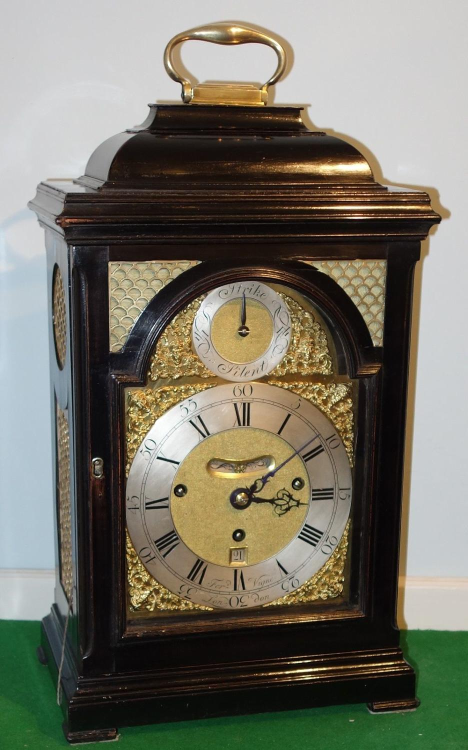 Good George II quarter repeating ebonised bracket clock. Vigne, London
