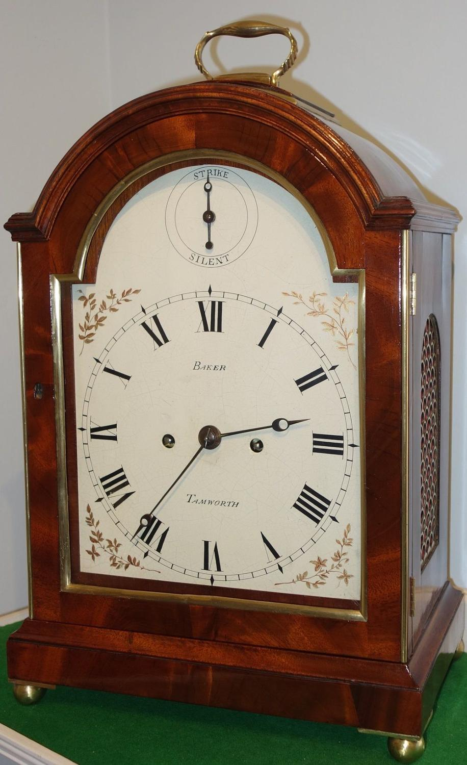 Georgian bracket clock with skeletonise movement, Baker, Tamworth.