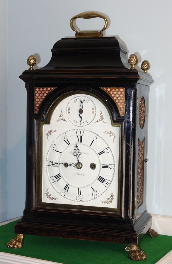 Extremely Rare Quarter Repeating Battersea Enamel Dial Bracket Clock.