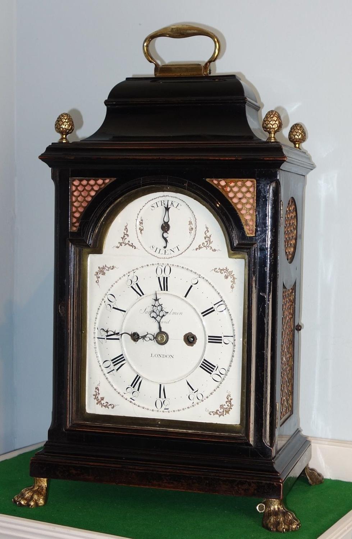 Extremely Rare Quarter Repeating Battersea Enamel Dial Bracket Clock.