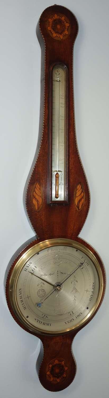 Early Mahogany wheel barometer, John Merry Ronketti C.1790.